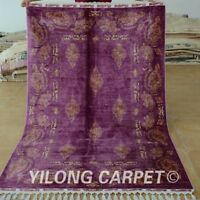 YILONG 4.3'x6.6' Purple Handknotted Persian Silk Carpet Oriental Area Rug 1719