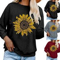 Women Sunflower O-neck Long Sleeve Top Pullover Sweatshirt T-shirt Blouse Ceng