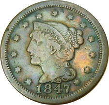 1847 Braided Hair Large Cent VF/XF, Estate Find - Z MP