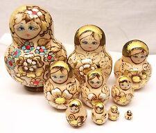 Vtg Hand Painted Russian Nesting Doll Set Matroyshka 10 Dolls Wood Wood Burned
