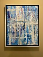 Blue and White Abstract original modern acrylic canvas painting | ships free