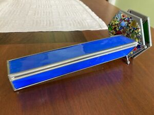 Vintage Double Wheel Triangular Blue Stained Glass & Pewter Kaleidoscope