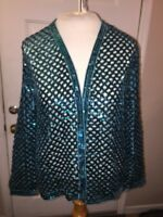 Three Flaggs California Womens Blouse Green Sequin See Thru