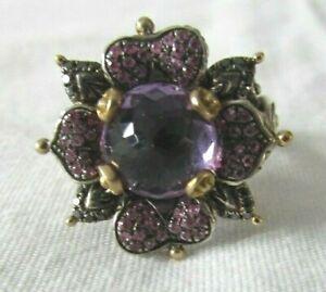 Barbara Bixby Sterling Silver/18K Zen Garden Multi-Gemstone Lotus Ring Size 8