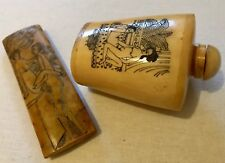 Two Old Bone Japanese Erotic Objet d'art - Pendant And Snuff Bottle