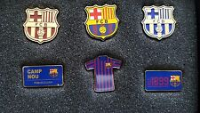 Barcelona FC La Liga 6 Badge Pins Set Shields, Camp Nou, 1899 Messi Limited E
