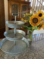 3-Tier Rustic Kitchen Stand Galvanized Metal Tray Farmhouse Style W/Twin Handle