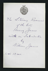 """William James, """"Father of American Psychology"""", Autograph Signed Inscription"""