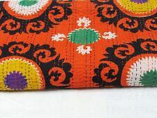 Indian Suzani Kantha Quilt Twin Blanket Cotton Throw Bohemian Bedding Gudri