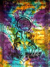 Lord Ganesh Indian Lotus TIE DYE Hindu Hippie Wall Hanging TAPESTRY Bedspread