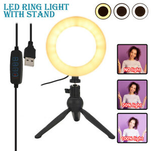 LED ring Light Dimmable 6 in circle light Phone Selfie Tripod Stand Lamp makeup
