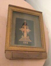 rare antique Victorian handmade ornate tramp art wood religious crucifix display