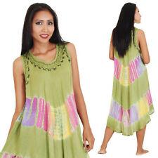 Ärmellose knielange Damenkleider im Boho -/Hippie-Stil aus Baumwolle