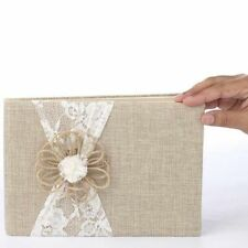 Darice David Tutera Burlap and Lace Guest Book , New, Free Shipping