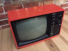 "Vintage Quazar 12"" Portable Television Tomato Red Model XP3222PR *Works *Japan"