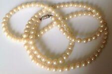 collier style sautoir vintage perle de verre nacré blanche de 7mm   475