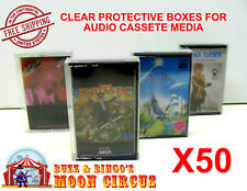 50x MUSIC CASSETTE TAPE - CLEAR PROTECTIVE BOX PROTECTOR SLEEVE CASE - ARCHIVAL