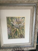 Night Blooming Cereus Watercolor & Gold gesso Framed &Signed R Clark