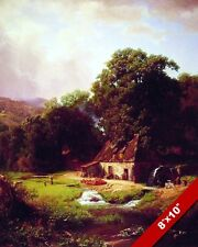 THE OLD MILL SLEEPY FARM COUNTRY LANDSCAPE PAINTING ART REAL CANVAS PRINT