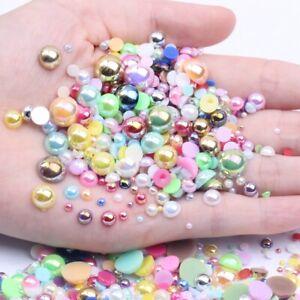 White AB Imitation Pearl Half Round Flatback Resin Beads for Garment Nail Art