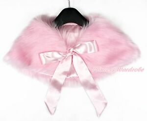 Light Pink Fluffy Fur Wedding Party Flower Girl Kids Shawl Coat Cape with Ribbon