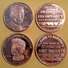 RON PAUL RAND PAUL .999 FINE COPPER 1 AV OZ ROUNDS 1 OF EACH *NEW* AOCS 2011
