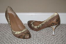 LATITUDE FEMME SEXY SNAKESKIN PRINT LEATHER 8.5 39 SUEDE HEELS