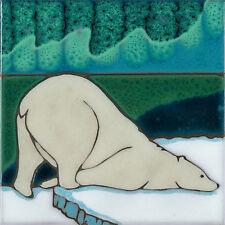 Handpainted ceramic tile original art Aurora Polar Bear wall hanging/ Hot Plate