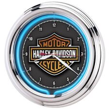 Harley Davidson Neon Clock Wall Clocks Essential Bar Shield Man Cave Den Game