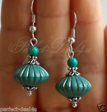 Turquoise Beads& turquoise stone Lightweight Earrings 925 Sterling Silver Hook