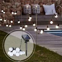 Solar Powered 10/20 LED Retro Bulb String Lights Outdoor Garden Xmas Fairy Lamps