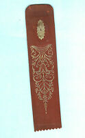 Vintage Geometric Gold Brown Leather Bookmark Reading Book Gift Him Dad Man