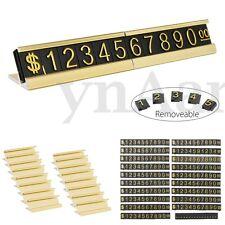 Golden Adjustable Number Letter Price Display Counter Base Stand Tag Label Set