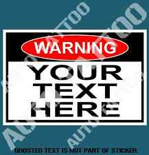 YOUR CUSTOM TEXT WARNING DECAL STICKER FUNNY NOVELTY SAFETY DECALS STICKERS