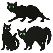 More details for 3x black metal scare cat pest control scarer repel rodent deterrent marble eyes