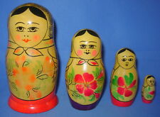 Vintage USSR Russian Wood Nesting Dolls Set of 4 Ladies Women Flowers Floral