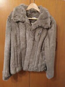 Faux fur jacket. Preloved.  Size:16. Brown.