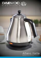 Daewoo Athena Brushed Stainless Steel Home Kitchen Worktop 1.7L Cordless Kettle