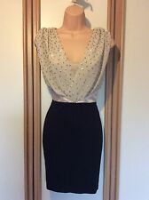 Lipsy Scattered Bead Drape Dress Black And Nude Size 8 BNWT £50.00