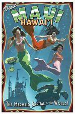 Visit Maui Hawaii The Mermaid Capital of the World, Turtle etc - Modern Postcard