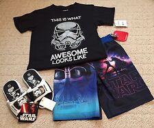 Star Wars Darth Vader Swim Trunks Storm Trooper Shirt Size 7 Sandals Flip Flops