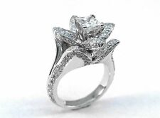 Ring in 14K White Gold Zyj Certified 3.45ct Princess Flower Diamond Engagement