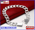 925 Sterling Silver Bracelet Womens Mens Stylish Wide 10mm Bold Chain Link NEW