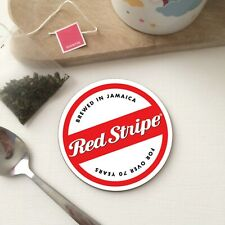Retro RED STRIPE BEER Mat Jamaica inspired Tea Coffee Drinks Gift WOOD Coaster