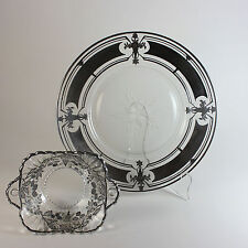 Sterling overlay glass plate and bowl berry bowl