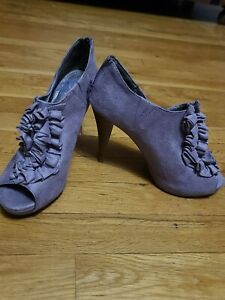 Lavender Suede Ruffle Heels Size 7 worn  Maybe Once By Fergie