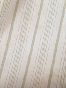 Simply Shabby Chic Stripe Queen Flat Sheet White Taupe Blue 100% Cotton, Rare!