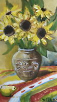 "Oil painting on canvas ""Sunflowers in a vase "" Original work"