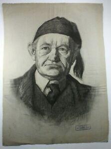 Kohlezeichnung Porträt Mann mit Mütze und Krawatt sign. dat. O.Binder 23.04.1912