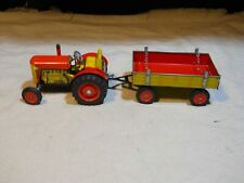 Schylling Tractor and Trailer Tin Toy ~ Wing-up W/ Key ~ In Box